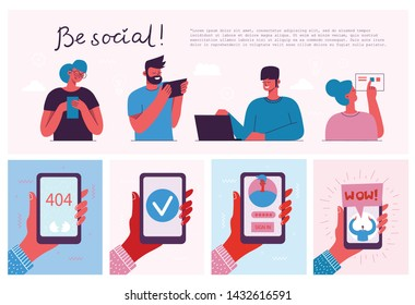 Be social! Vector illustration of group of young people characters chatting, using smartphone for Website or Web Page. Concept of virtual communication and social network page.