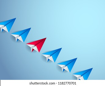 Be special, be leader, outstanding and stand out concept, line of origami paper toy planes one of them is bright red colored, 3d realistic vector illustration.