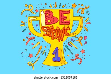 Be strong quote greeting card template
