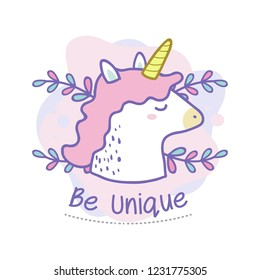 Be unique quote of cute unicorn doodle. Vector iilustration for card background, shirt