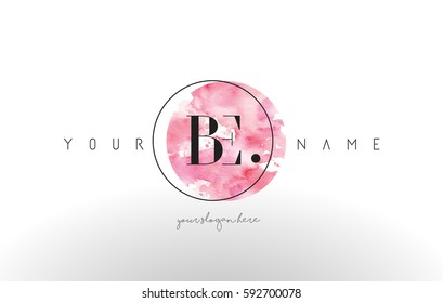 BE Watercolor Letter Logo Design with Circular Pink Brush Stroke.
