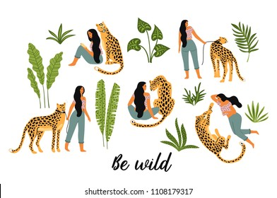 Be wild. Vector illustrations of woman with leopard and tropical leaves. Trendy design for card, poster, t shirt and other use.