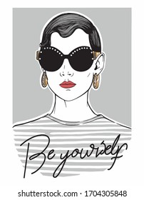 Be yourself slogan illustration, For t-shirt prints and other uses.