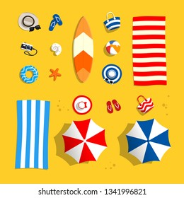 Beach accessories on sand. Set objects for swimming and vocation sea. Top view. Vector illustration in flat style.