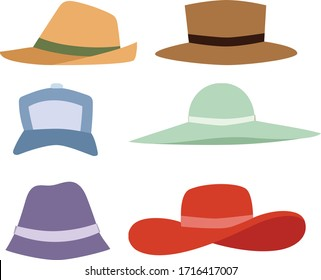Beach accessories, summer hats collection vector