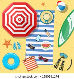 Beach Accessories top lay view on sand. Striped towel, umbrella, flip flops, flippers, float ring, snorkeling mask, bag, sunglasses, sun cream, hat, watermelon. Vector illustration in flat style