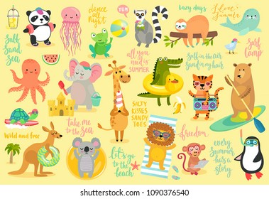 Beach Animals hand drawn style, Summer set - motivation calligraphy and other elements. Panda, elephant, bear, penguin, sloth, koala, lion and others. Vector illustration.