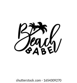 Beach Babe calligraphy with palm tree silhouette.