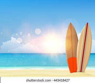 Beach background with surf boards. Photorealistic vector.