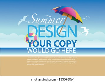Beach Background Template. EPS 8 vector, grouped for easy editing. No open shapes or paths.