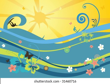 beach background with waves, sun, flowers and surfers