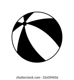 Beach ball - black vector icon