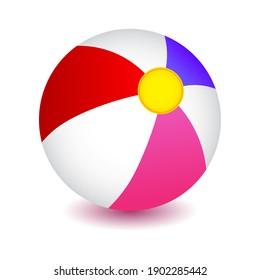 Beach ball, colorful striped ball, vector illustration.
