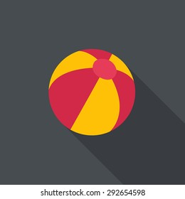 Beach ball. Flat design with a long shadow.