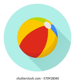 Beach ball, beach ball icon, play, volleyball, recreation, sports, entertainment. Flat design, vector illustration, vector.