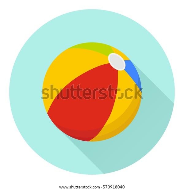 Beach ball, beach ball icon, play, volleyball, recreation, sports, entertainment. Flat design, vector illustration, vector.