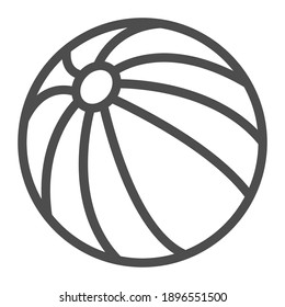 Beach ball line icon, summer activities concept, Ball for games in water sign on white background, Beach ball icon in outline style for mobile concept and web design. Vector graphics