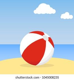 Beach ball lying in the sand. Beach ball against the blue sky. Flat design, vector illustration, vector.