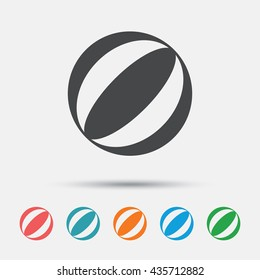 Beach ball sign icon. Water ball. Graphic element on white background. Colour clean flat beach ball icons. Vector