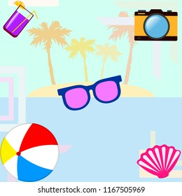 beach ball sunglasses cocktail shell seashell camera f
