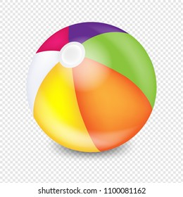 Beach Ball Transparent Background With Gradient Mesh, Vector Illustration