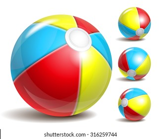 Beach balls in different positions isolated on a white background. Symbol of summer fun at the pool or seaside. Vector illustration
