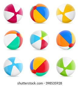 Beach Balls. Set of Isolated Beach Balls. Isolated Illustration on White Background.