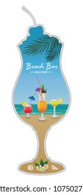 Beach bar with cocktails. Trendy design. For menu, poster, banner and other design.