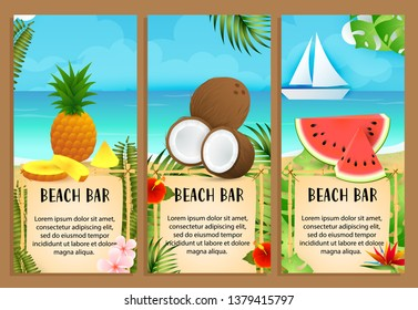 Beach Bar letterings set with coconut, pineapple and watermelon. Tourism, summer, party advertising design. Typed text, calligraphy. For leaflets, brochures, invitations, posters or banners.