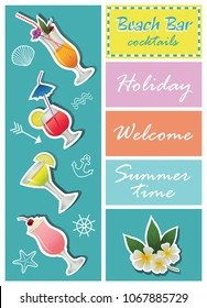 Beach bar. Set of alcohol drinks and cocktails. For menu, poster, banner and other design.
