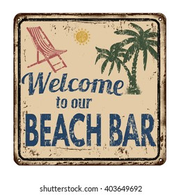 Beach bar vintage rusty metal sign on a white background, vector illustration