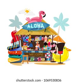 Beach booth with tropical beach theme selling swimwear, drink,  swim ring, bag, sunglasses and others. summer theme - vector illustration