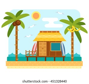 Beach bungalow hotel. Flat scene with hut, sea, send, surfboard and palm tree.