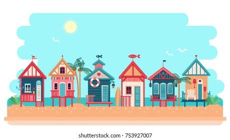 Beach bungalow hotel. Summer huts landscape. Vector