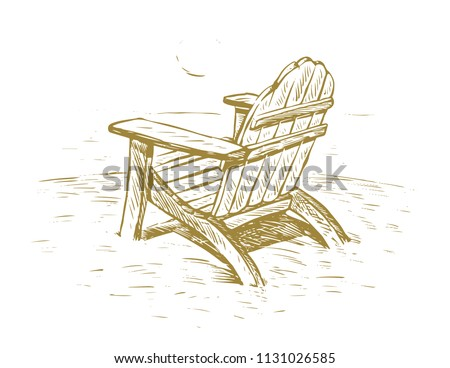 beach chair drawing stock vector royalty free 1131026585