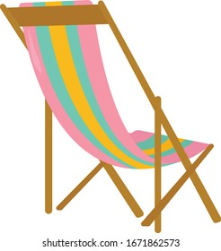 Beach chair, illustration, vector on white background.