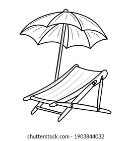 Beach Chair Line art black and white vector illustration, isolated linear style pictogram