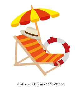 beach chair with umbrella and float
