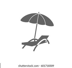Beach chair and umbrella icon. Relax icon.  Beach chair icon.
