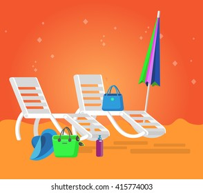 beach chaise longue, recliner in different design