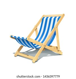 Beach chaise longue for summer rest. Wooden deck chair. Vacation accessory. Summertime relax. Relaxation equipment. Isolated on white background. Eps10 vector illustration.