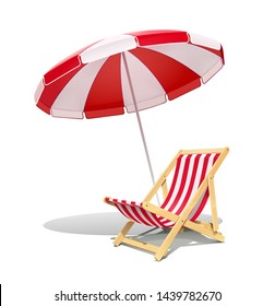 Beach chaise longue and sunshade for summer rest. Wooden deck chair. Vacation accessory. Summertime relax. Relaxation equipment. Isolated on white background. Eps10 vector illustration.