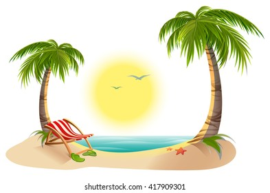 Beach chaise longue under palm tree. Summer vacation in tropics. Cartoon vector illustration