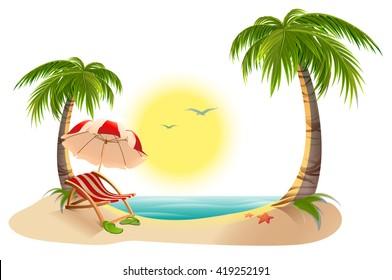 Beach chaise longue under palm tree. Summer vacation in tropics. Cartoon illustration