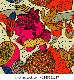 Beach cheerful seamless pattern wallpaper of tropical leaves of palm trees, flowers and fruits.