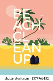 Beach Cleanup concept layout, vector. Modern graphic environment themed poster template on coastal cleanup with tropical beach background