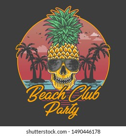 beach club party skull pineapple illustration vector
