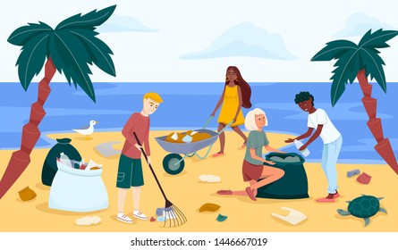 Beach or coastal cleanup in trendy flat style drawing. Group of young people cleaning waterfront from plastic garbage. A group of  volunteers people scavenging. Ecology and environment concept