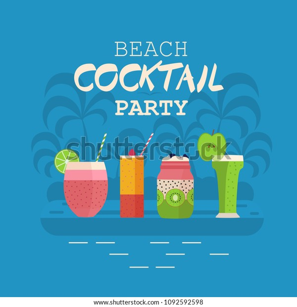 Beach Cocktail Party Invitation Card Poster Stock Vector