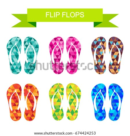 8e433b386 Beach colorful flip flops collection isolated on white background. Design  elements for banners or flyers